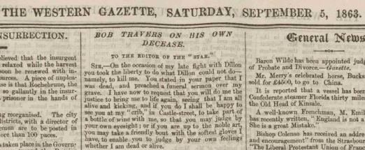 Boxer Bob Travers's comments on reports of his death, Western Gazette, 5 September 1863