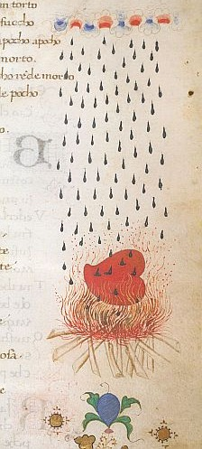 A miniature of a heart on a pyre with rain falling on it
