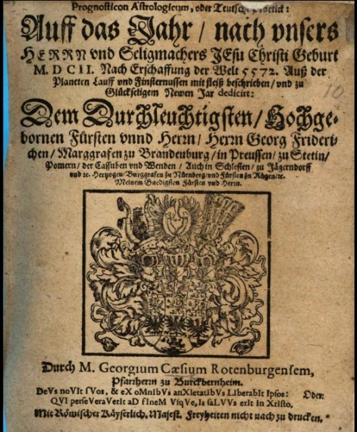 Title page in German with two Latin chronograms for the year 1601