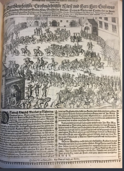 Link to a broadside with an image of a triumphal procession entering Nuremberg and a chronogram on the year 1632