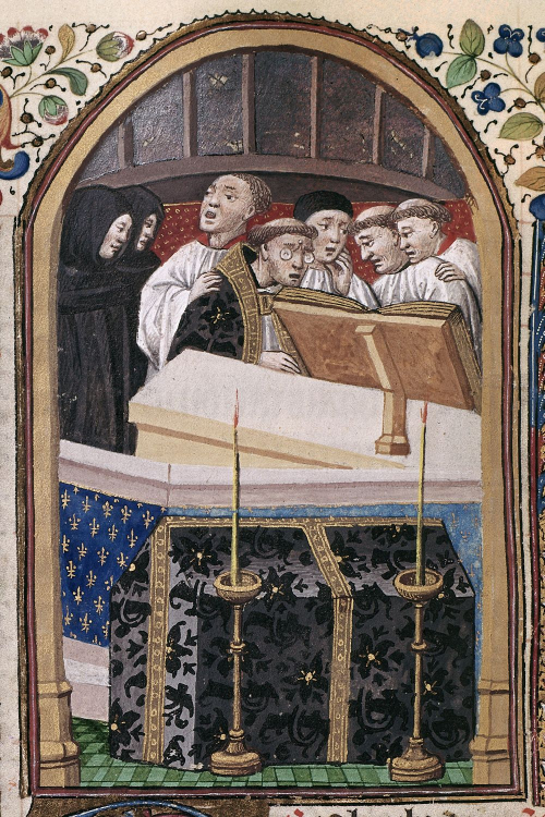 Detail of a miniature of monks singing a requiem, with the celebrant wearing spectacles