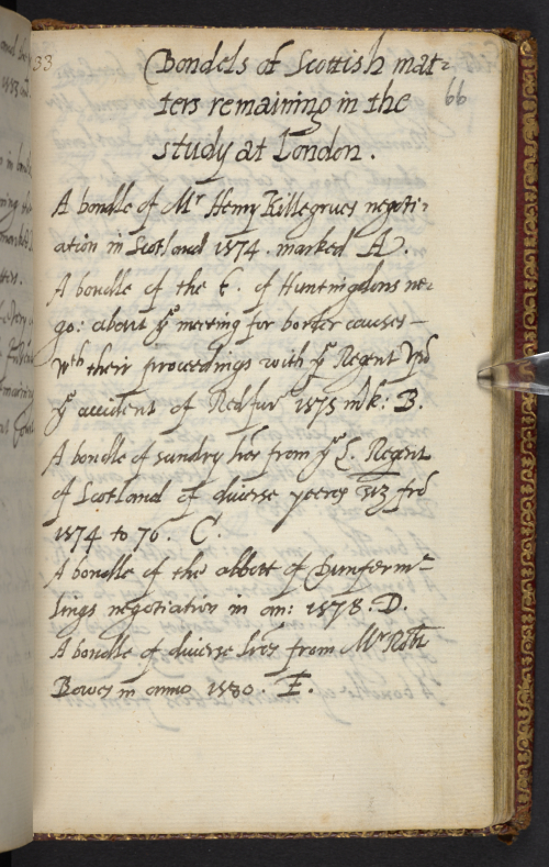 A page of Walsingham's book, with the title 'Bondels of Scottish matters remaining in the study at London'