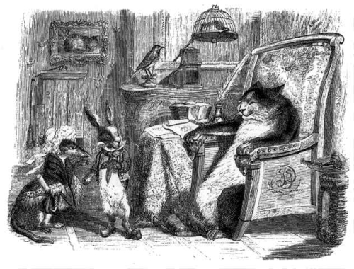 Illustration from the Fables of Lafontaine showing a weasel and rabbit standing before a seated cat