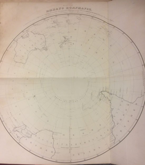 The map of Southern hemisphere showing the islands discovered by Captain Bellingshausen