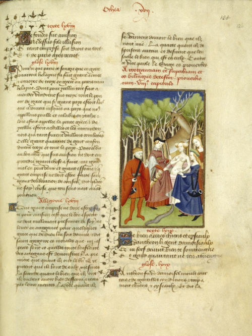 A page from a medieval manuscript, with an illustration of Actaeon discovering the goddess Diana bathing, before being turned into a stag.