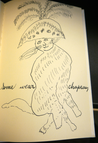 Illustration of cat wearing a chapeau
