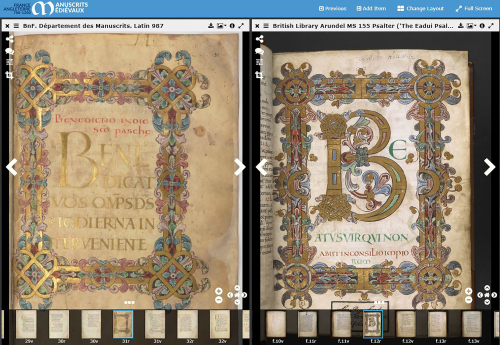 The Beatus pages of two medieval Psalters, displayed side-by-side.