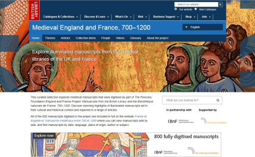 The landing page for the Medieval England and France, 700-1200 website, in English.