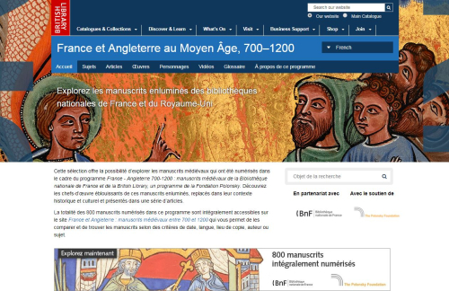 The landing page for the Medieval England and France, 700-1200 website, in French.