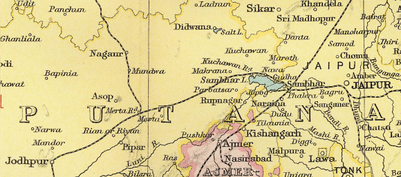 "Imperial Gazetteer of India , 1909 ed., vol. 26, Atlas: detail of ""Rajputana"", p. 34"