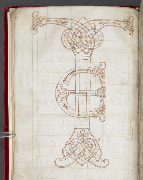 A page from the Noyon Sacramentary, showing an unfinished drawing of a TE ligature.