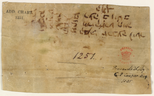 The reverse of a medieval charter, with a text in Hebrew acknowledging the receipt of a payment
