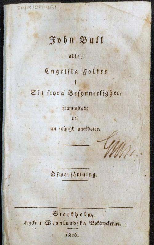 Title Page of ohn Bull eller Engleska folket i sin stora Besynnerlighet