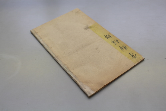 The repaired Chinese-style cover with a strip of Japanese tissue adhered down the spine.