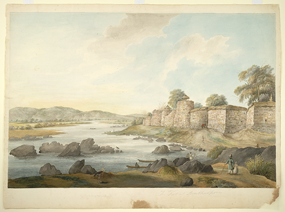 The fort at Sambalpur on the banks of the Mahanadi River. By the 'Gilbert artist', 1825-27. BL Add.Or.2519