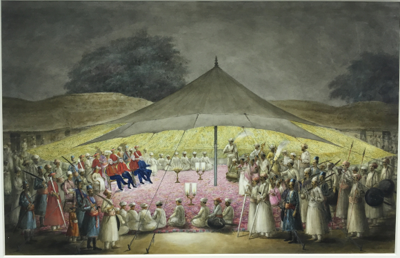Gilbert and other British officers being entertained with a nautch by the Raja of Sambalpur. By the 'Gilbert artist', 1825-27. BL Add.Or.2522