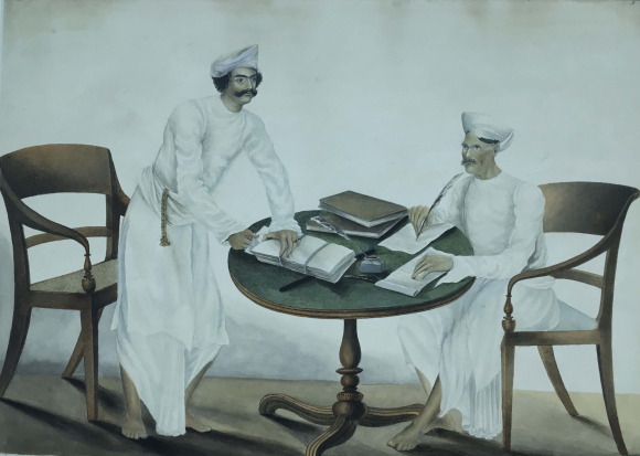 Gilbert's munshi and diwan working in Gilbert's bungalow.  By the 'Gilbert artist', 1822-28.  BL Add.Or.3949