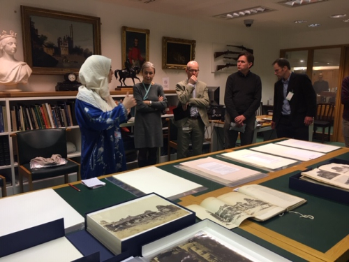 Photograph Sagera Kazmi introducing her research at the British Library's workshop. Also pictured, Luisa Elena Mengoni (Head of Asian and African Collections, BL), Alan Sudlow (Head of Research, BL), Crispin Branfoot (SOAS), and Nick Barnard (V&A).