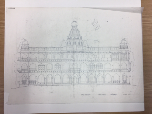 Pencil drawing showing the north elevation of the Raja Mahal, Chandragiri, scale 1:100.