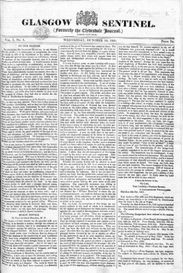 The Sentinel newspaper, 10 October 1821
