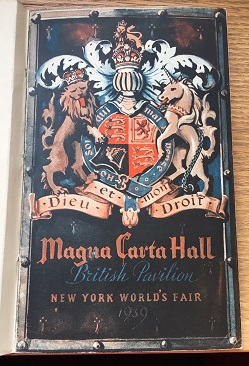Cover of the guide to the British Pavilion; it includes a depiction of the coat of arms of the UK.