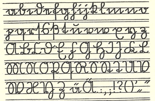 An alphabet in the Sütterlin handwriting script