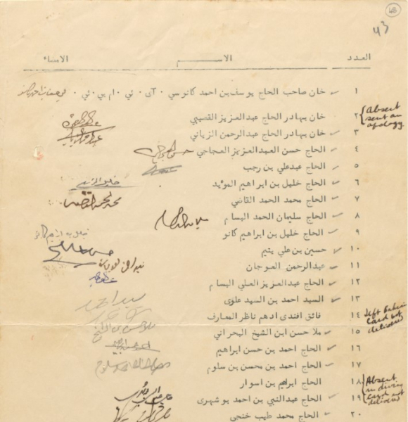 List of names circulated among the invitees