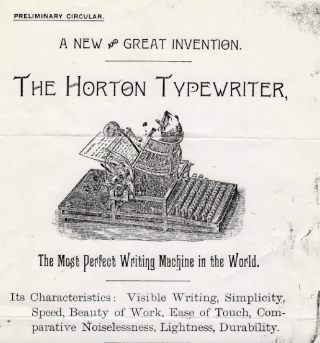 "Advertisement for Horton Typewriter, ""The most perfect writing machine in the world"""
