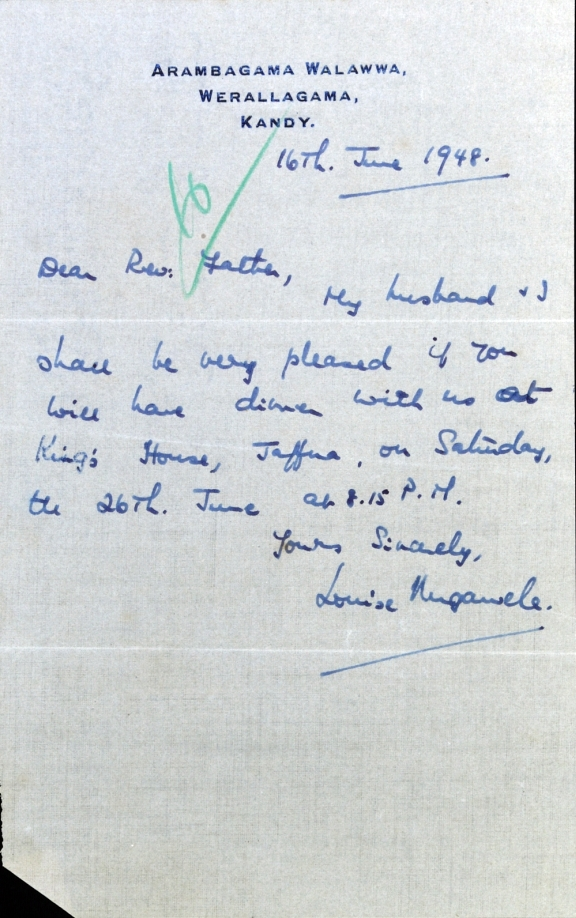 A letter written by Louise Nugawela