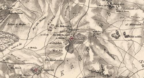 Palestine Exploration Fund map showing Lubya