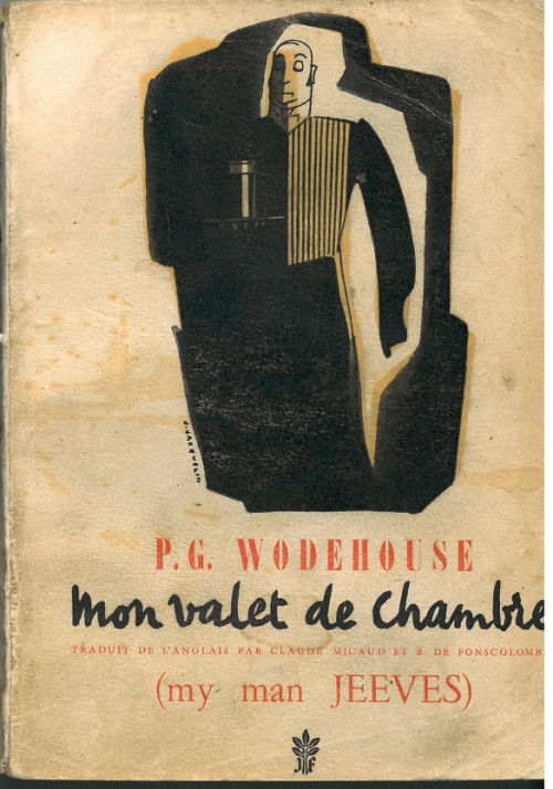 Cover of a French P.G. Wodehouse translation showing Jeeves carrying a tray