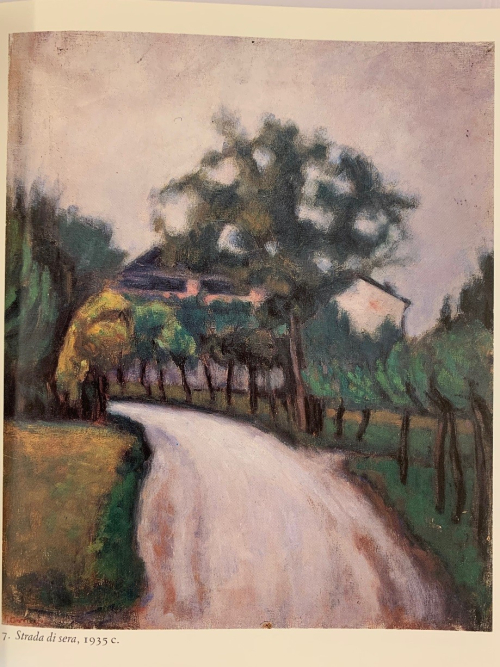 Painting by Lalla Romano of a country road