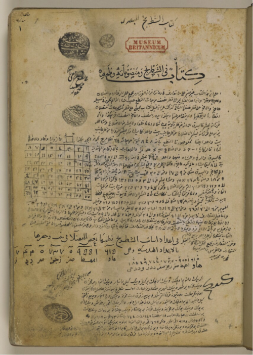 Title page of the Kitāb fī al-shaṭranj wa-manṣūbātihi wa-mulaḥih on which the seal of the Ottoman sultan Bāyezīd II (reg. 1481-1512) can be seen in the lower left corner (Add. MS 7515, f. 1r)