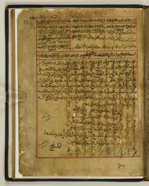 Colophon of a copy of Saʿīd ibn Hibat Allāh's al-Mughnī fī tadbīr al-amrāḍ wa-maʿrifat al-ʿilal wa-al-aʿrāḍ produced at Baghdad 1172 (IO Islamic 3810, f. 105r)