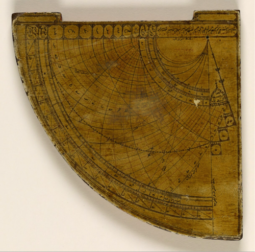 Astrolabe quadrant produced in 1256/1840-1 and signed by its maker, Aḥmad ibn Ibrāhīm al-Sharbatlī (Or. 2411/2, Side A)