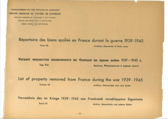 Page from Répertoire des biens spoliés