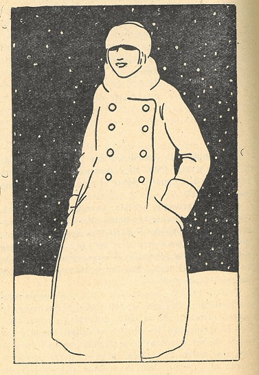 Picture of the character Olga dressed for winter in a snowy landscape