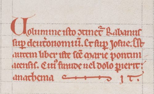 A book curse in a 13th-century manuscript belonging to the Cistercian abbey of Pontigny.