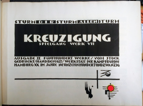 Title-page of Lothar Schreyer's, Kreuzigung