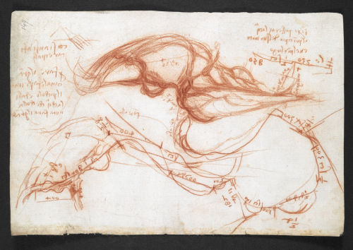 A page from the notebook of Leonardo da Vinci, showing sketches of the River Arno.