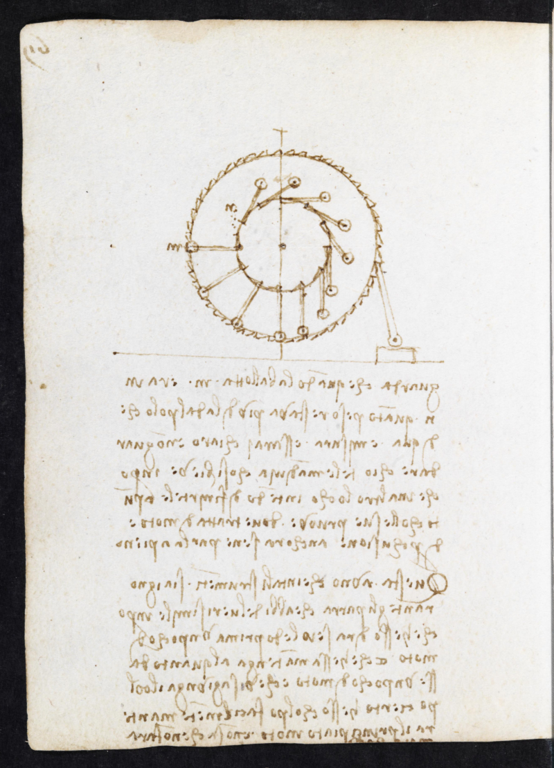 Studies for a perpetual motion wheel  Codex Forster II  ff. 90v (c) Victoria and Albert Museum  London