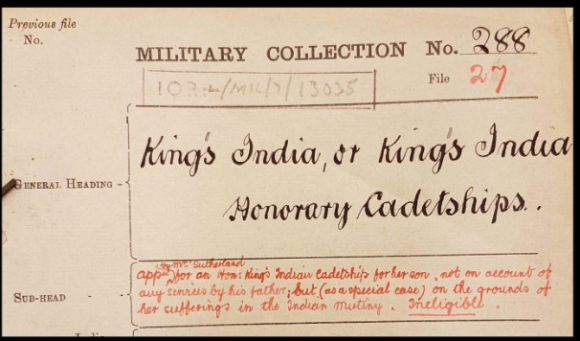 Front cover of file about applications for King's India cadetships