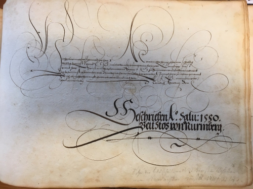 Handwritten text and ownership inscription by Veit Stoss, 1550