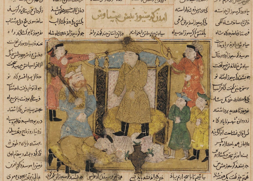 Garsivaz prostrating himself before Siyavush in the presence of Rustam. 14th century