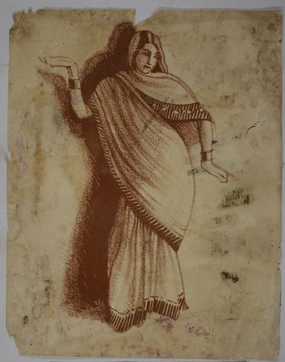 Drawing of a woman wearing a sari