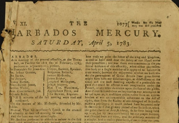 Front page of the Barbados Mercury dated Saturday, April 5, 1783