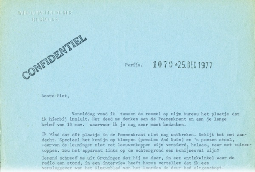Typed note from W.H. Hermans to P. Schreuders
