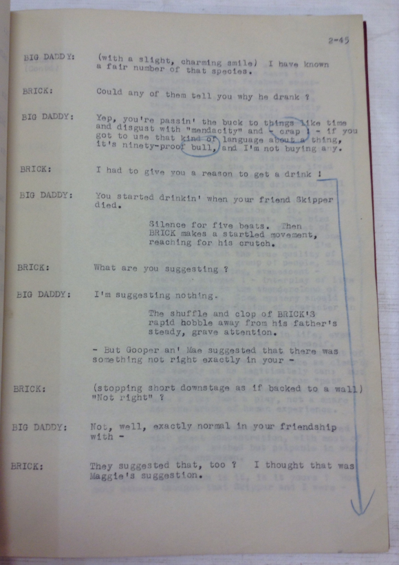 Passages marked in blue pencil by the Lord Chamberlain's Office objecting to the play's references to homosexuality