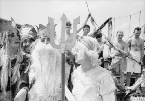 Sailors dressed as Neptune, his Queen, and Lady in Waiting