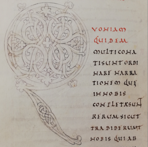 A sketch for a large initial Q from a 10th-century Gospel-book and Lectionary.
